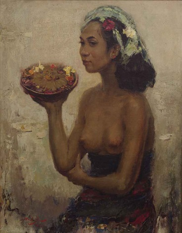balinese girl with offerings by lee man fong