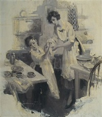 boy drying his hands with mother's help while helping in the kitchen (illus. for pictorial review?) by walter g. ratterman