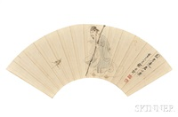 fan painting depicting a scholar with a bamboo staff by xie zhiliu
