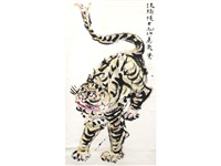 a lively, cartoon-like tiger by shiko munakata