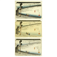 fifty-three stations of the tōkaidō futagawa (3 works) by ando hiroshige