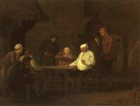 card players in an inn by leonard de france