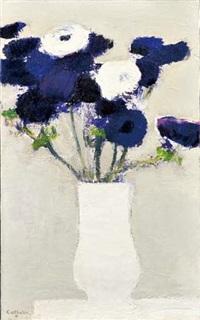 anémones bleues et blanches by bernard cathelin