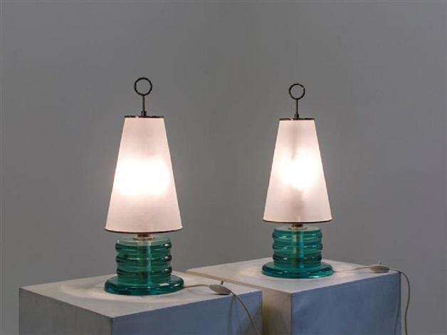 Coppia di lampade con base in cristallo colorato diffusore in vetro