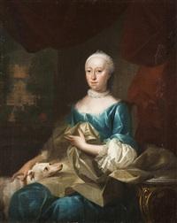 ebenbild einer dame mit hündchen by aert schouman