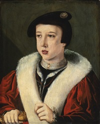 portrait of a boy, head and shoulders, wearing a beret, possibly the young ferdinand i, holy roman emperor by jan van scorel