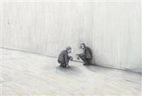 two crouching men by john r. davies