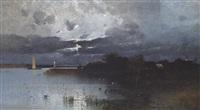 abendliche gewitterstimmung über einem seeufer by eduard fischer