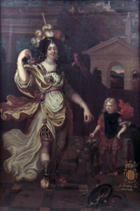 full length portrait of anne francoise hubertine de carondelet, comtesse de merode at de montford (1616-1668), dressed as