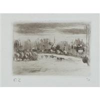 prairies de bazincourt by camille pissarro