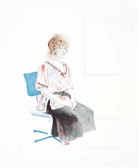 celia seated in an office chair by david hockney