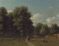 a view of haarlemmerhout, near haarlem, with elegant figures on a path and children playing by gerrit adriaensz berckheyde