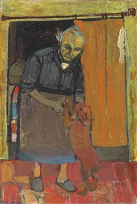 old woman with a dog by joan kathleen harding eardley