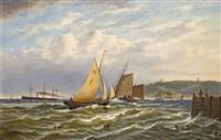 segelschiffe und dampfer vor einer küste by johann baptist weiss