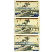 fifty-three stations of the tōkaidō yokkaichi (3 works) by ando hiroshige