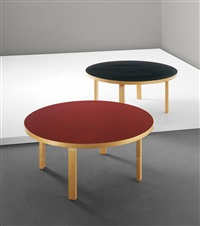 two l-leg coffee tables, model no. 91 by alvar aalto