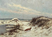 a fox in a winter landscape by franz de vadder