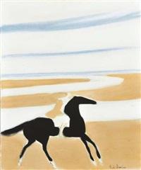 cavalière sur la plage by andré brasilier
