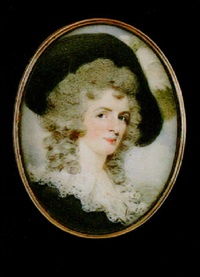 a lady wearing black hat with white plumes in her powdered hair and black dress with white lace collar by edward miles