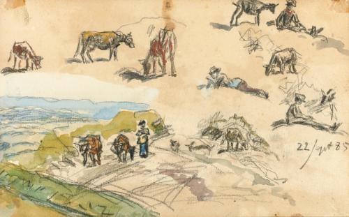 figure studies; landscape (recto-verso) by johan barthold jongkind