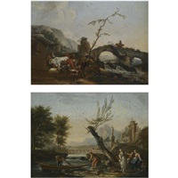 an italianate landscape with a bridge and the gates of a villa in the background, figures fishing in the foreground (+ an italianate landscape with herdsmen crossing a bridge, smllr; pair) by jean baptiste charles claudot