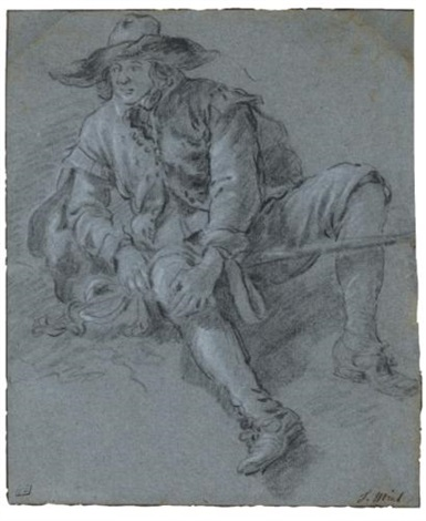 a man seated on the ground (study) by jan miel