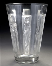 goblet six figurines vase by rené lalique