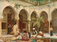 la cour de palais de dar khdaouedj el amia, alger (+ preparatory sketch, lrgr; 2 works) by gustave clarence rodolphe boulanger