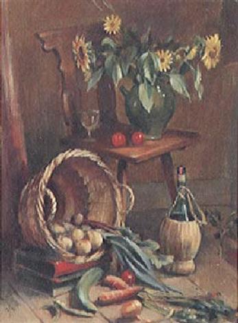 stilleben mit gemüse wein und sonnenblumen by alfred anklin