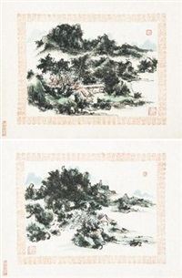 山水 (2 works) by huang binhong