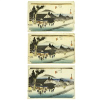 fifty-three stations of the tōkaidō ishibe (3 works) by ando hiroshige