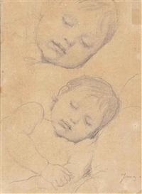 etude de deux têtes d'enfant endormi : portrait présumé de lucie-marie-thérèse marcotte de quivières by jean-auguste-dominique ingres
