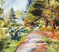 garden street in sunlight by géza bornemisza