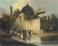 indians bathing by a ruined temple, bengal by george chinnery