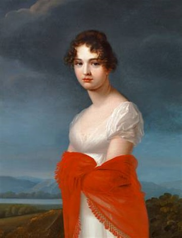 portrait of princess ekaterina vasilyevna saltykova in a white dress and red shawl by jean francois asselin