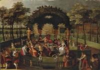 festin dans le parc d'un château by louis de caullery