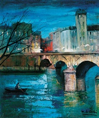 evening on the bank of the seine in paris by marguerite de corini
