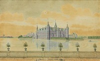 views of frederiksborg, frederiksborg ladegård (workhouse), sorgenfri and ledreborg (4 works) by johann jacob bruun