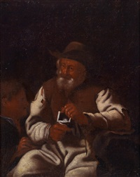 ein alter, sich an einem kohlefeuer wärmender mann (+ ein strickender alter mann; pair) by michael sweerts