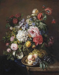 roses, poppies, peonies, tulips and syringa with a caterpillar and a moth in a vase with classical reliefs, peaches and grapes on a copper ewer... by adriana johanna haanen
