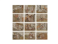 shunga (12 works) by isoda koryusai