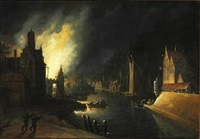 a fire near a canal in the middle of the night by egbert lievensz van der poel