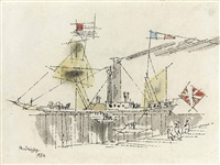steamer with sails by lyonel feininger