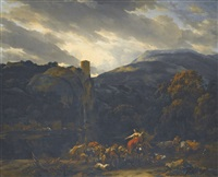 italianate landscape with a river beneath a castle atop a rocky bluff, muleteers and drovers in the foreground by nicolaes berchem