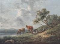paisaje con pastor y vacas by henry milbourne