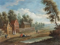 a river landscape with figures resting on a country path (+ an extensive landscape with travellers on a country path; pair) by anglo-flemish school (18)