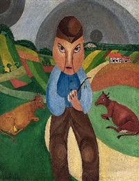 farmer with cows in landscape by alfred lomnitz