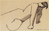 reclining female nude by milton avery
