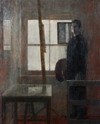 studio window with self-portrait by nicolas granger-taylor