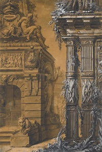 the entrance to a sepulchre with a columned building to the right, two figures in a courtyard in the background by gilles-marie oppenort